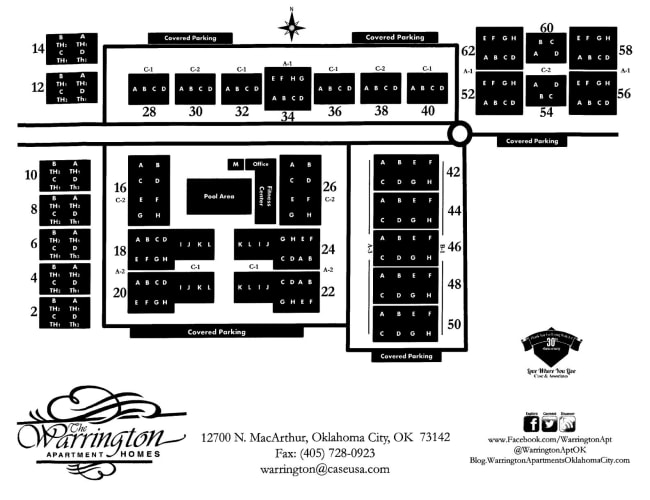 Site map for The Warrington Apartments in Oklahoma City, Oklahoma