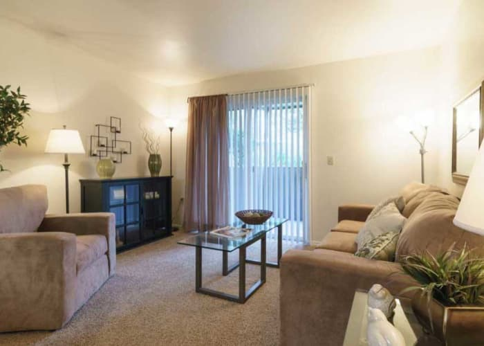 Bright living room at Arbor Crossing Apartments in Boise,