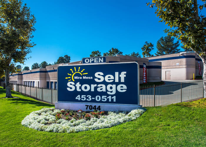 The sign at the front entrance of Mira Mesa Self Storage in San Diego, California