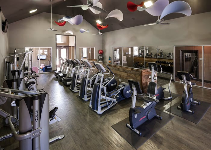 Fitness center at Hyde Park at Montfort in Dallas