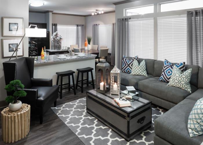 Beautiful living room at Tintara at Canyon Creek in Austin