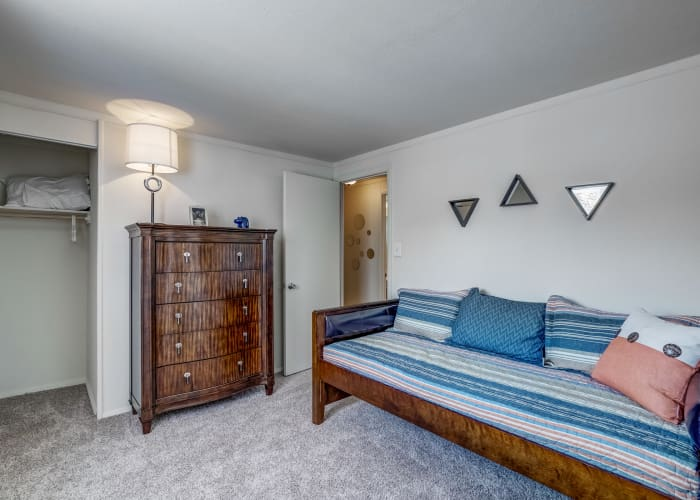 Well-lit bedroom in model townhome at Avalon Townhomes in Hampton, VA