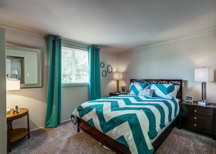 Beautiful master bedroom in model townhome at Avalon Townhomes in Hampton, VA