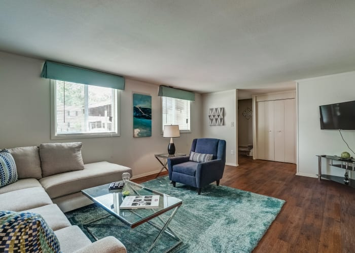 Plenty of room for furnishings in living area of model townhome at Avalon Townhomes in Hampton, VA