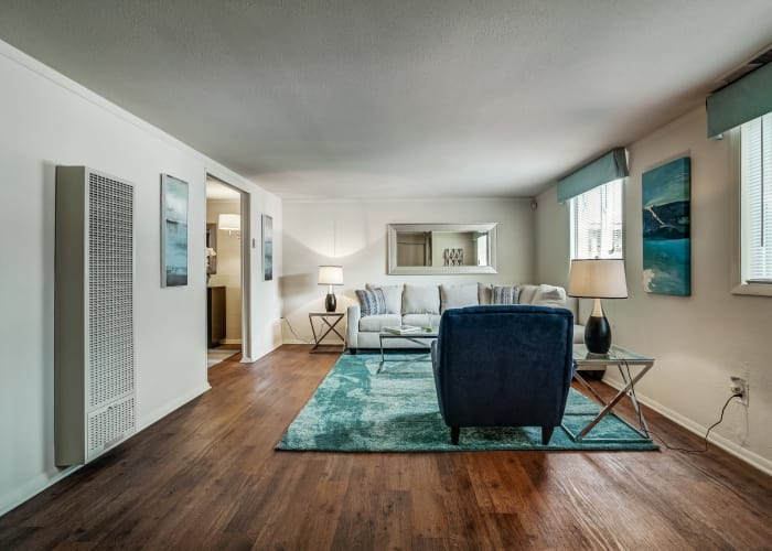 Open-concept living room in model townhome at Avalon Townhomes in Hampton, VA