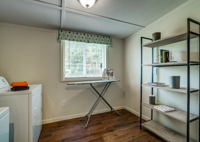 Laundry room in model townhome at Avalon Townhomes in Hampton, VA