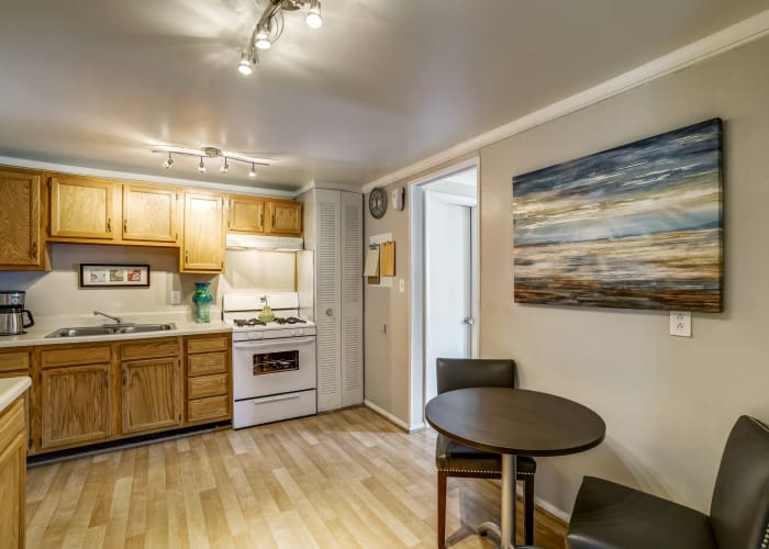 Bight and modern kitchen in model townhome at Avalon Townhomes in Hampton, VA