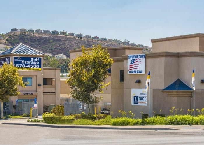 The sign at the front entrance of Jamacha Point Self Storage in Spring Valley, California