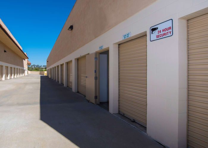 A driveway between storage units at Golden Triangle Self Storage in San Diego, California