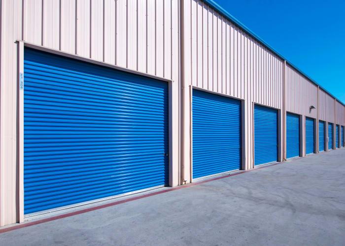 A driveway between storage units at Otay Crossing Self Storage in San Diego, California