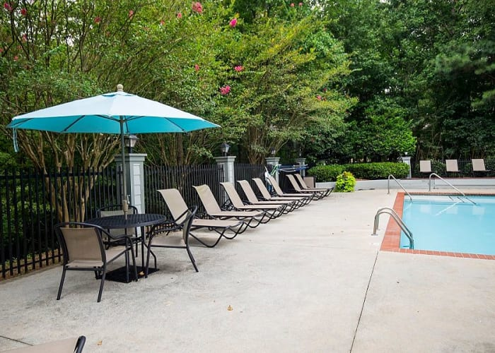 Pool side seating at Lake Crossing in Austell, GA