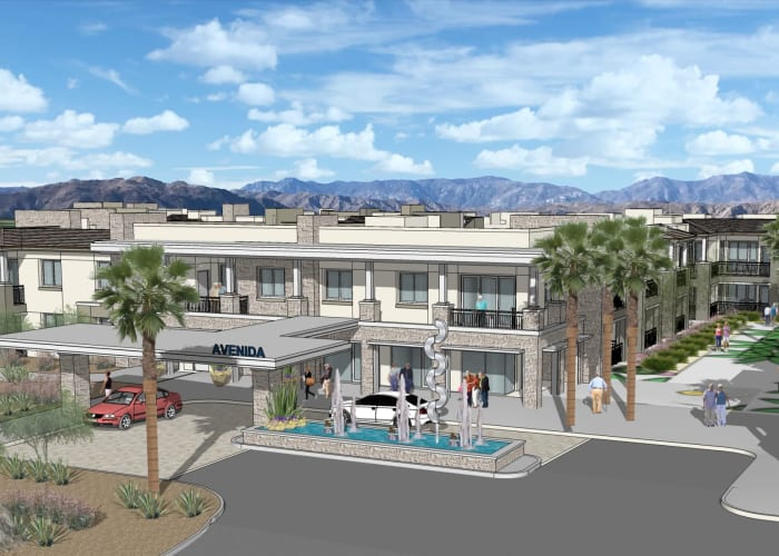 Exterior rendering of front entrance at Avenida Palm Desert senior living apartments in Palm Desert, California