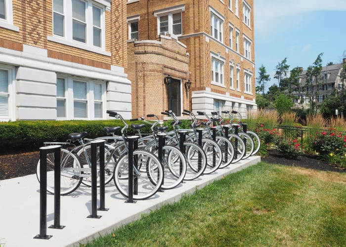 After image of The Packard's bike racks in West Hartford, Connecticut