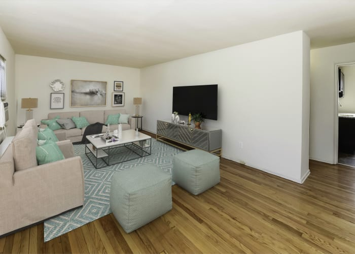 Elmwood Village Apartments & Townhomes offers a spacious living room in Elmwood Park, NJ