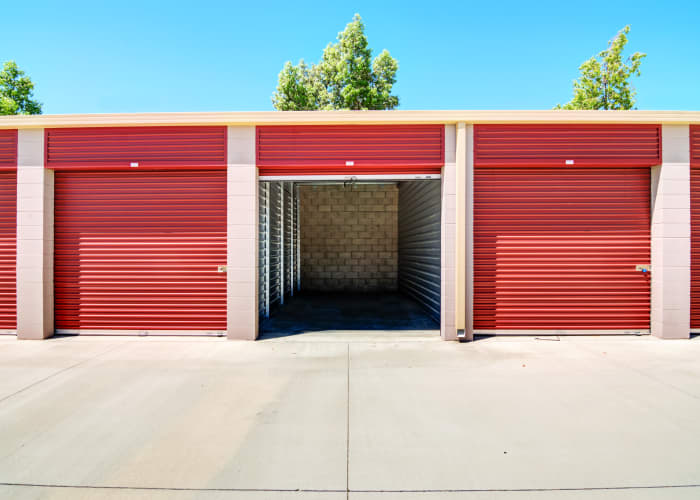 A driveway between storage units at Butterfield Ranch Self Storage in Temecula, California