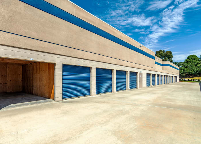 A driveway between storage units at Mira Mesa Self Storage in San Diego, California