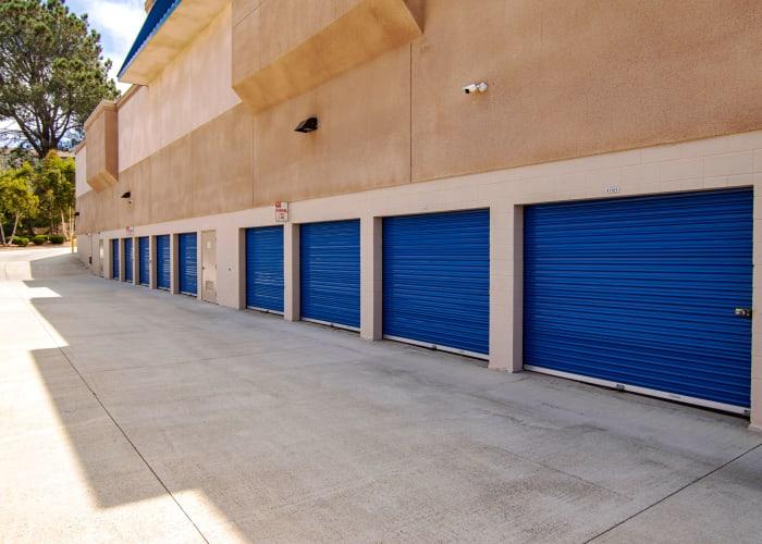 A driveway between storage units at Smart Self Storage of Solana Beach in Solana Beach, California