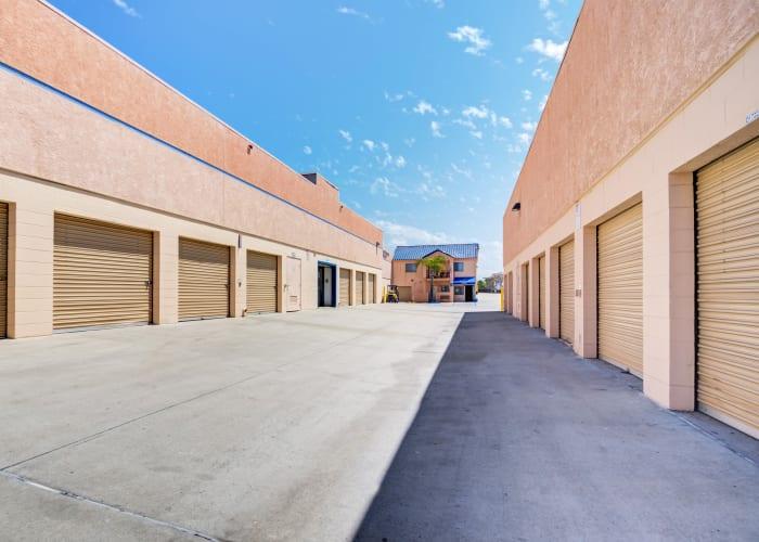 A driveway between storage units at Otay Mesa Self Storage in San Diego, California
