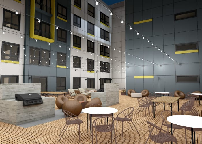 Rendering of Kinect @ Broadway's lounge area in Everett, Washington