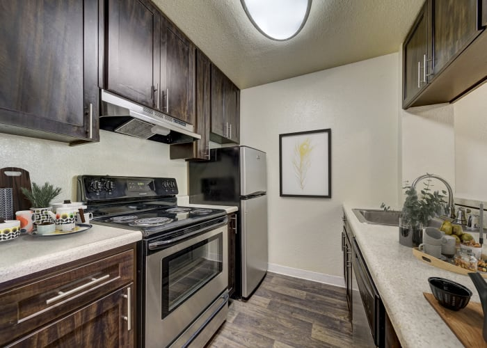 Brown Renovated Kitchen with stainless steel appliances at The Timbers Apartments in Hayward