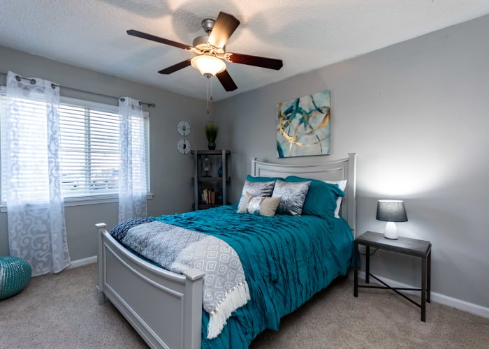 Well decorated bedroom at Lexington Park Apartments in Smyrna, Georgia