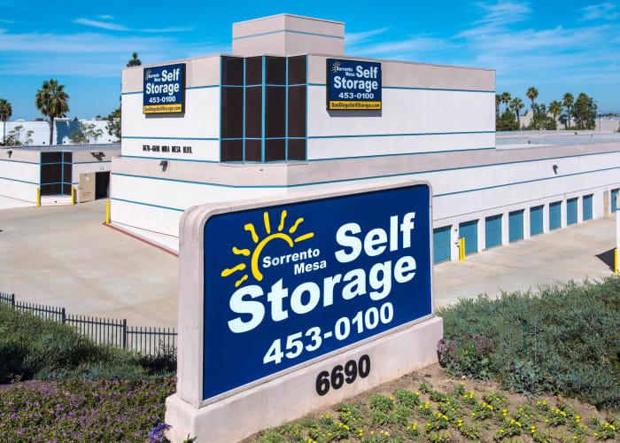 The sign at the front entrance of Sorrento Mesa Self Storage in San Diego, California