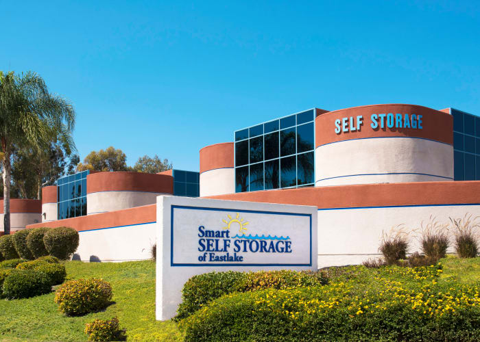 The sign at the front entrance of Smart Self Storage of Eastlake in Chula Vista, California