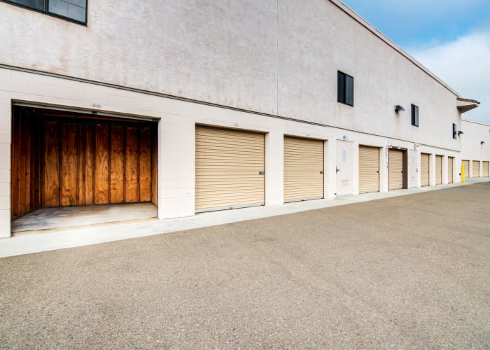 A driveway between storage units at Poway Road Mini Storage in Poway, California
