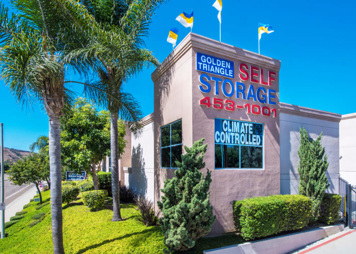 The sign at the front entrance of Golden Triangle Self Storage in San Diego, California