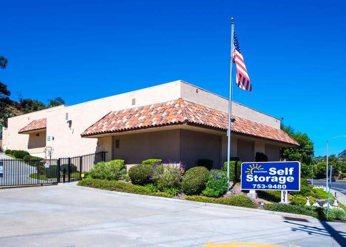 The sign at the front entrance of Encinitas Self Storage in Encinitas, California
