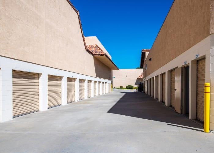 A driveway between storage units at Encinitas Self Storage in Encinitas, California