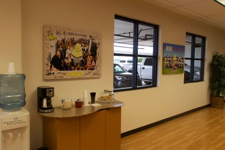 Fresh coffee in the office at Hawai'i Self Storage in Pearl City