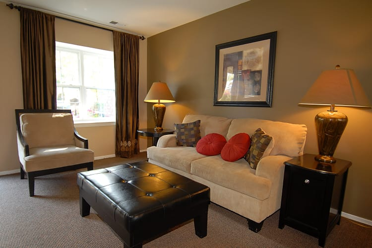 Living room with cozy decor at Arbors at Edenbridge Apartments & Townhomes in Parkville, MD