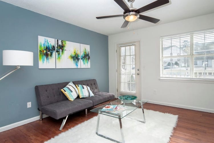 The Gallery apartments in Clemson showcase a modern living room