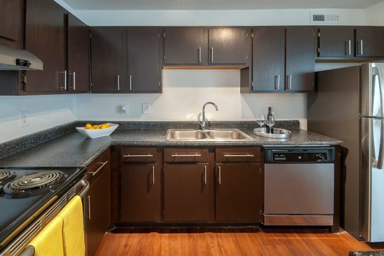 Well equipped kitchen at The Gallery apartments in Clemson, SC