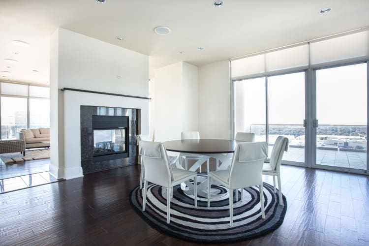 Spacious dining area at The Heights at Park Lane apartments in Dallas, TX