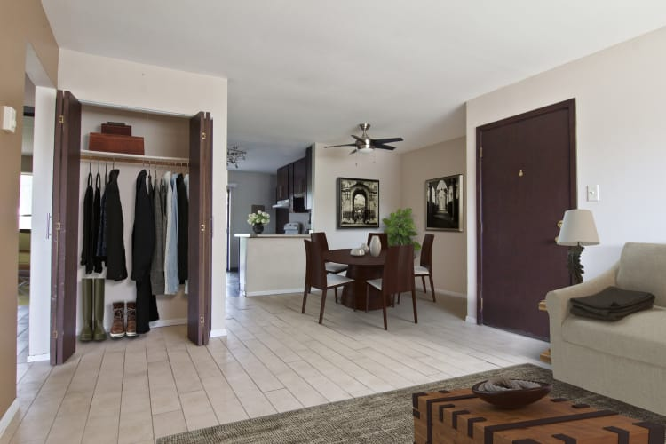 Living and dining room at The Flats at Gladstone in Glendale Heights, IL