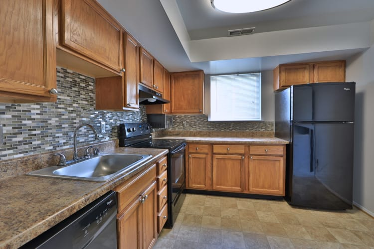Fully equipped kitchen at Willowood Apartment Homes in Westminster, MD