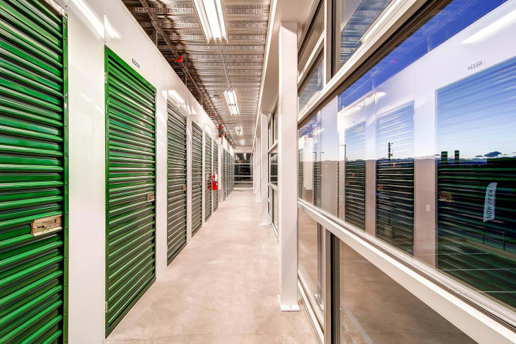 Hallway of storage units at Greenbox Self Storage in Denver, Colorado