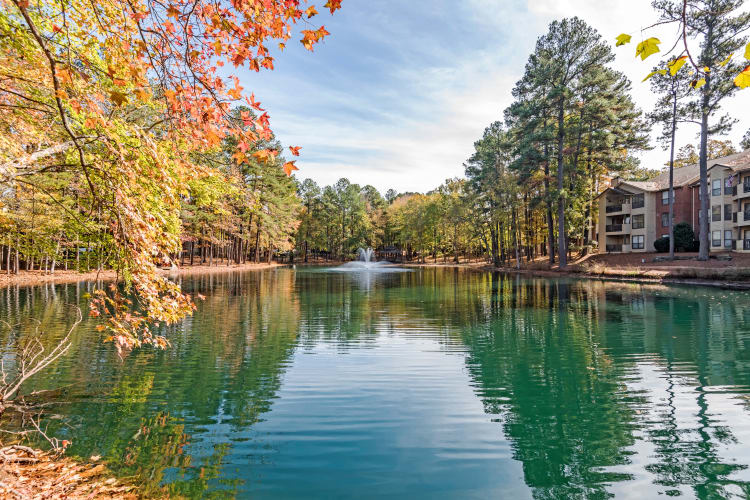 Community pond with fountain at Beech Lake Apartments in Durham, NC