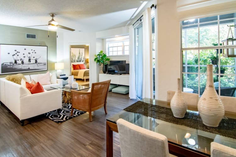 Spacious living room and dining room at The Sophia at Abacoa in Jupiter, Florida