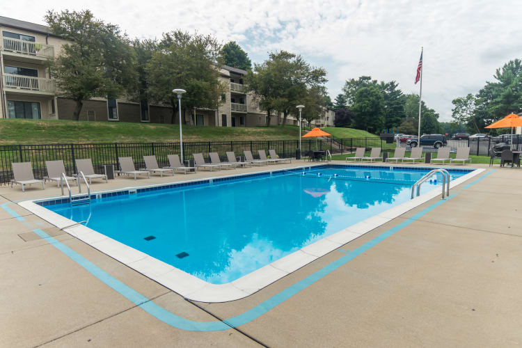 Squires Manor Apartment Homes offers a swimming pool in South Park, PA