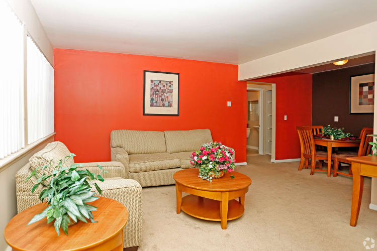 Large living room at Hoover Square Apartments in Warren, Michigan