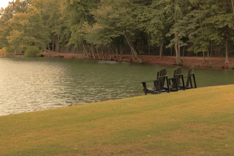 Beautiful resident pond at The Lofts Of Greenville in Greenville, South Carolina