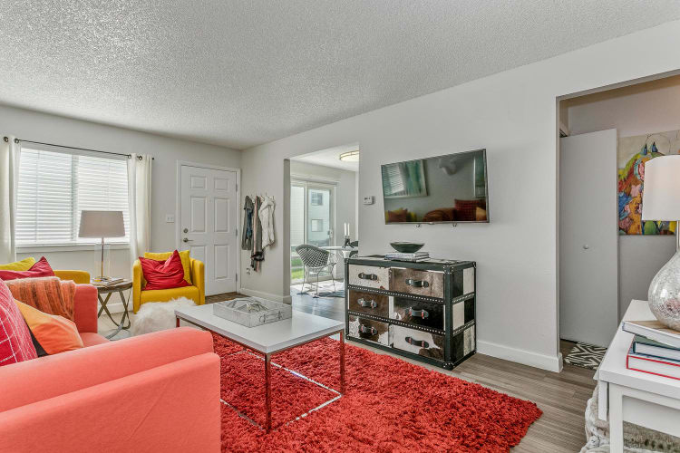 Well-decorated living area in a model townhome at Stratus Townhomes in Westminster, Colorado