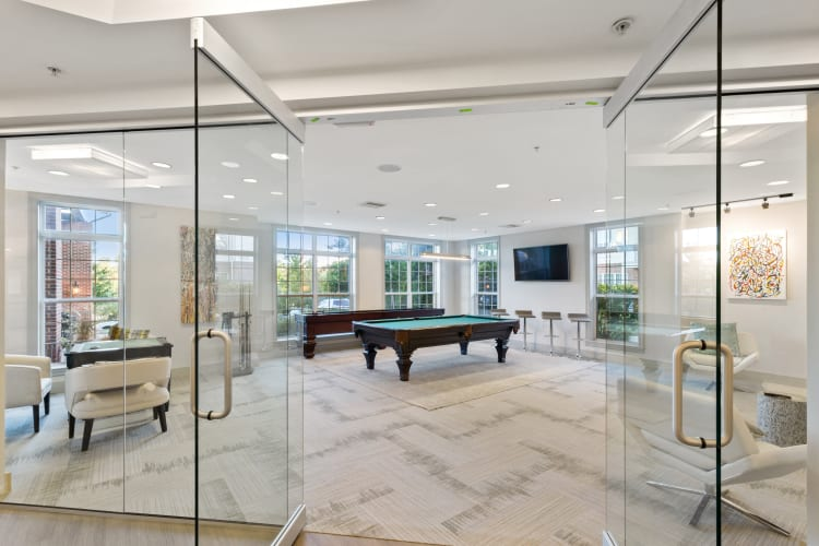 Entrance to the game room at The Lena Luxury Residences in Raritan, New Jersey