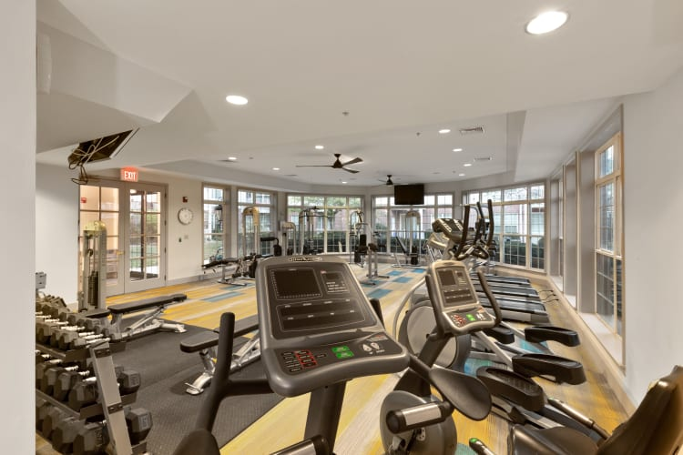 Well-equipped fitness center at The Lena Luxury Residences in Raritan, New Jersey