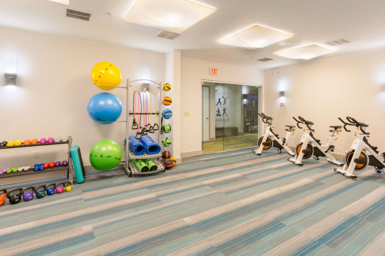 Spin room at The Lena Luxury Residences in Raritan, New Jersey