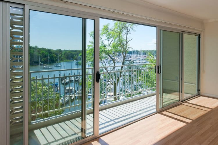 Gorgeous views of the bay from a model home's living area at Watergate Pointe in Annapolis, Maryland