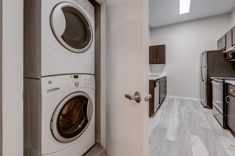 Washer and dryer at Lumen Apartments in Everett, Washington